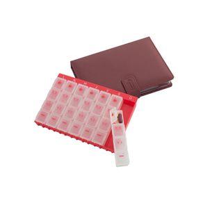 Organizador-de-Medicamentos-Semanal-Vermelho-com-Carteira